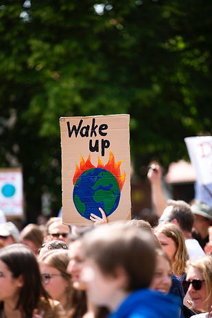 Environment Activists Protest: Wake up! Our planet is buring.