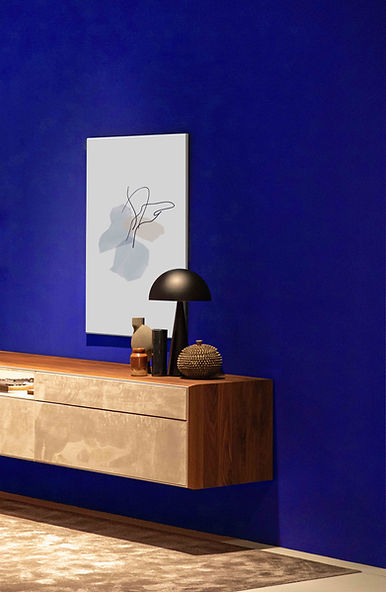 Modern blue wall with artwork Phoenix Decorators Worcester 2021