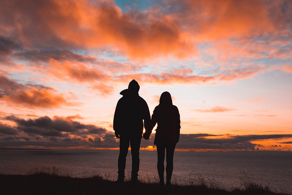 couple, relationship, sunset, ocean