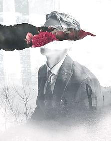 花のコラージュを持つ男