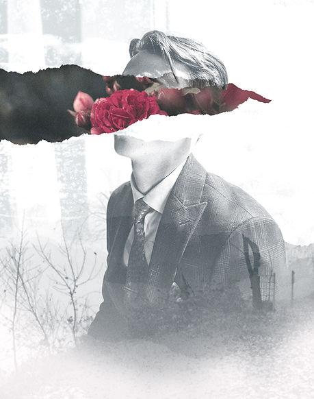 Hombre con collage de flores