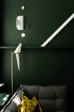 Parede verde escura