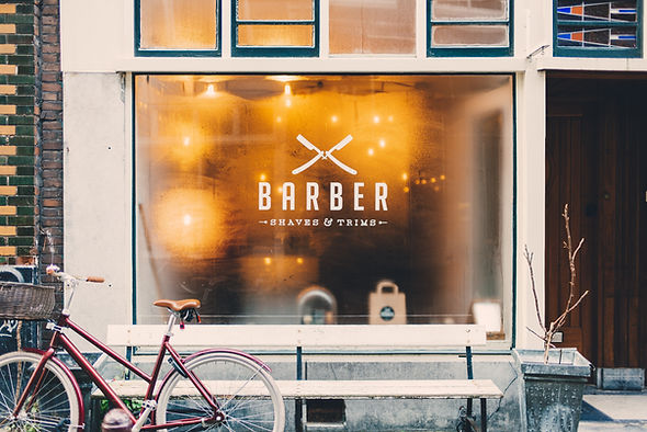 Barber window small business shop