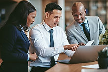 Sales team working together