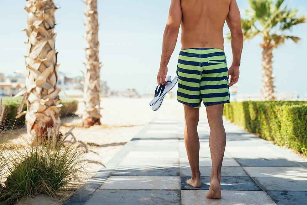 A Man Wearing Water Shorts