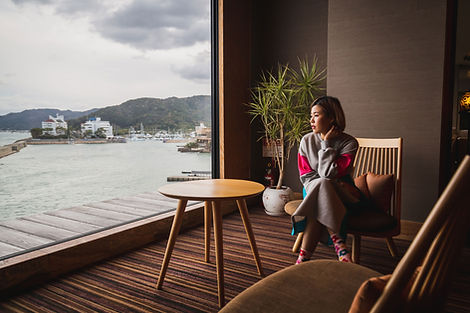 海辺の旅館でリラックス