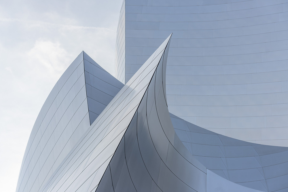 Curving metal surface on a building