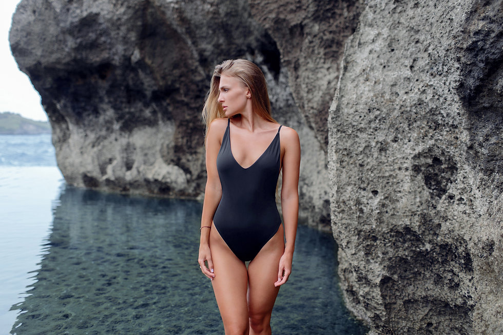 Woman with Black Bathing Suit