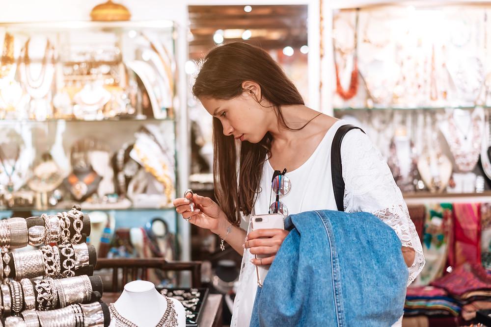 woman browsing jewelry
