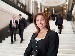 Smiling Lawyer in Lobby