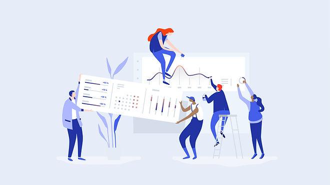 Comicbild: Vier Menschen arbeiten gemeinsam