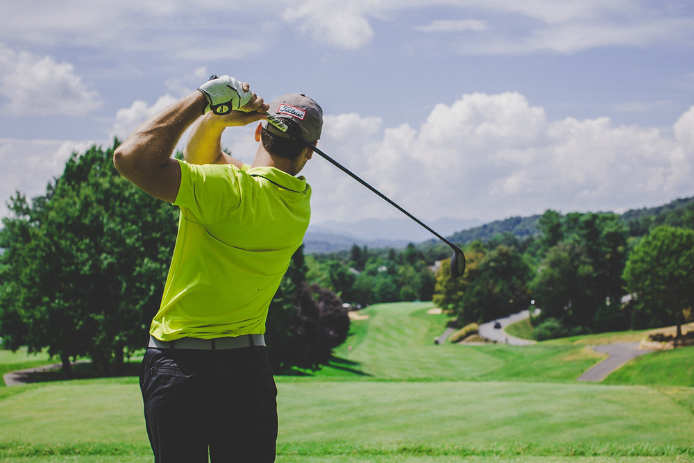Golfer - linked to breathing exercise for less stress