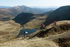 Mountain Bikers Riding Downhill