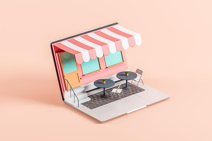 Café de la pantalla del ordenador portátil