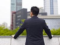 Vista dell'uomo d'affari urbano