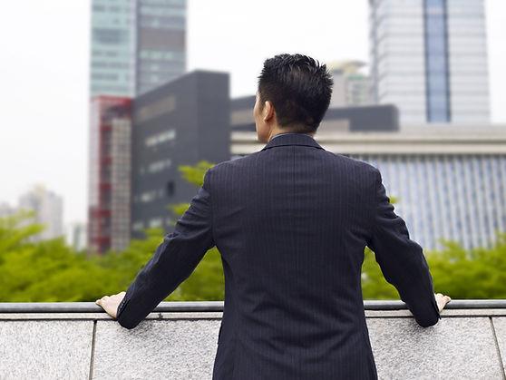 Vista urbana del empresario