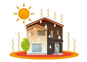 家、一軒家:熱中症、暑い