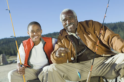 Grandfather and Child Fishing
