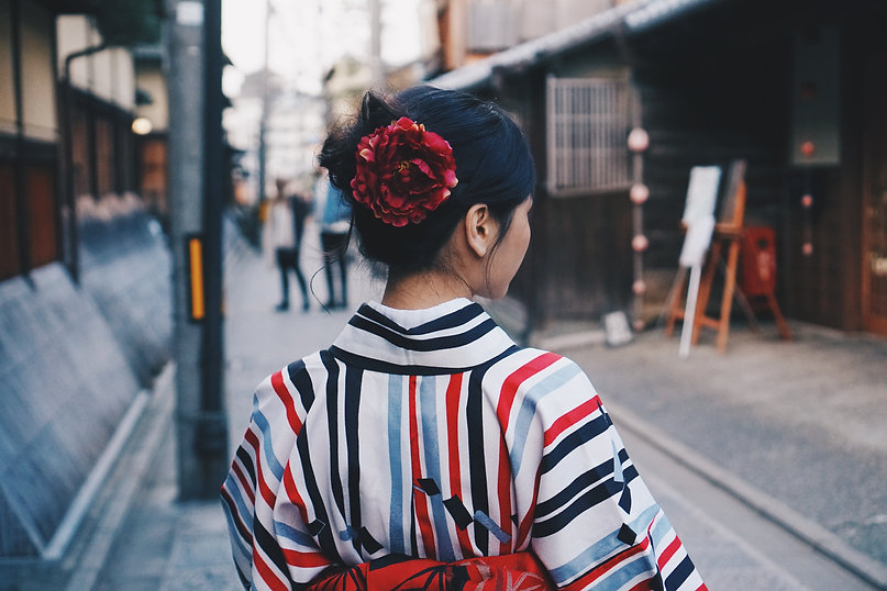 縞模様の着物