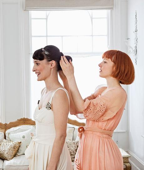 Adjusting the Bride's Hair