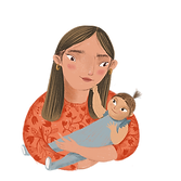 Mother holding a child graphic