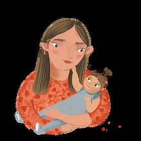 moeder en kind tekening