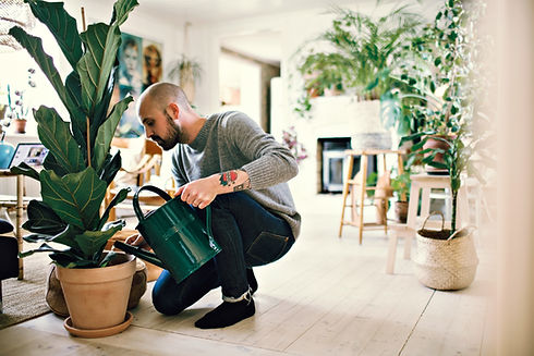 A Man Watering Plants