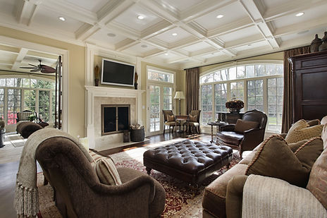 Family Room with Fireplace, drone construction site photography