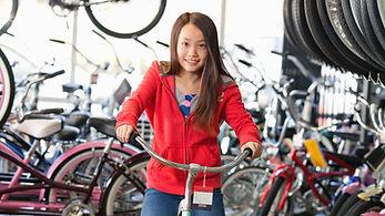 Bij de fietswinkel