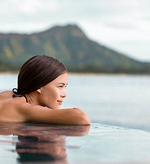 A Woman Looking out of a Swimming Pool