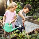 Kinderen tuinieren