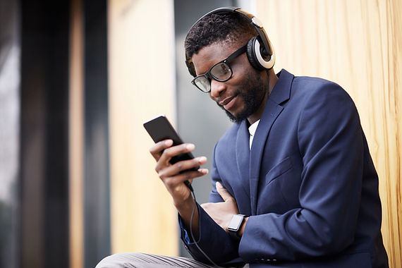 A Young man wearing headphones