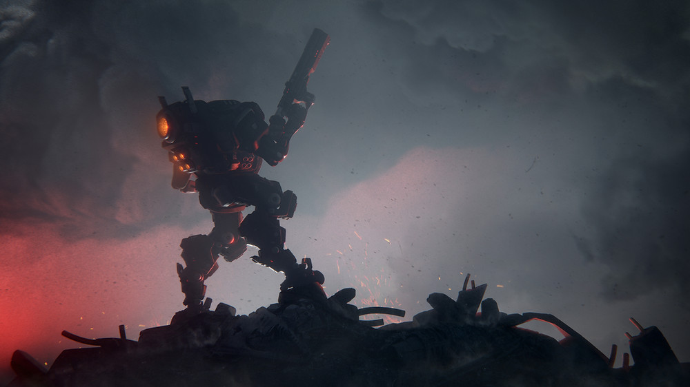 A robot with a gun on a pile of machinery with red and black clouds in the background