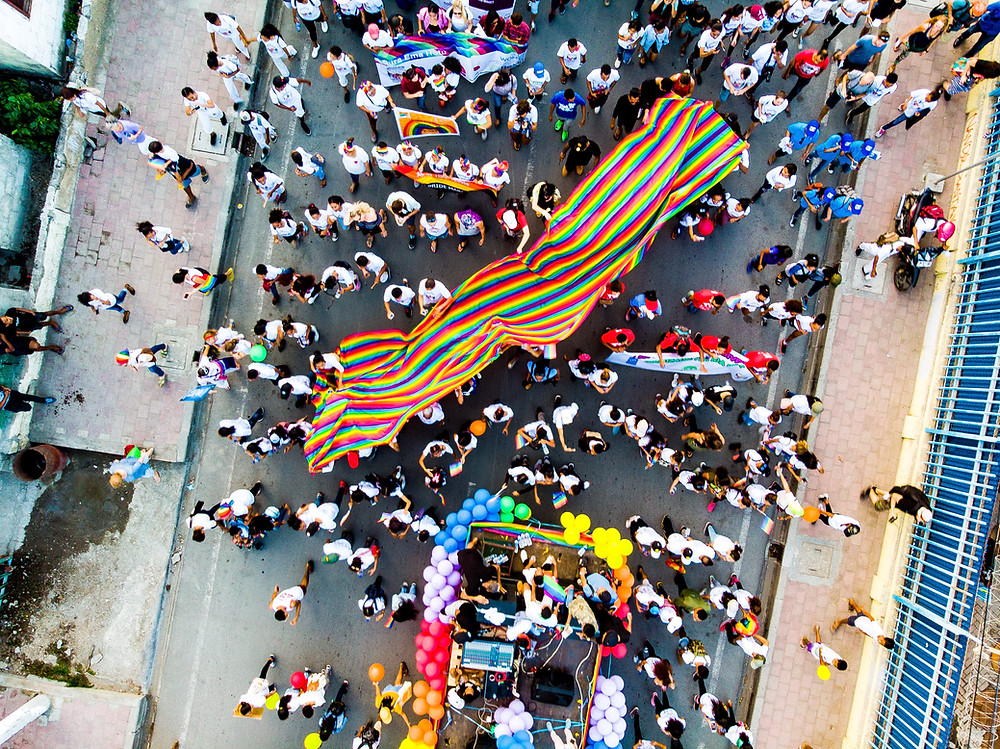 Pride march from overhead