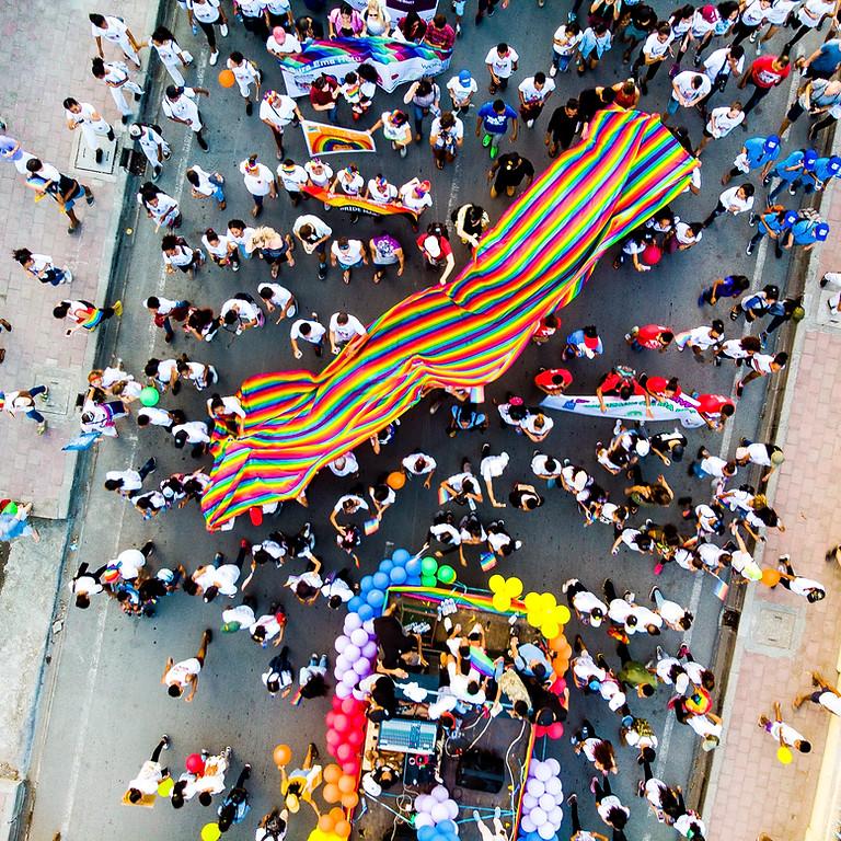 Rainbow mural painting