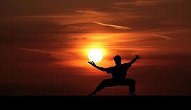 格闘家と夕日