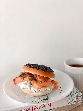 Soft cheese, salmon bagel