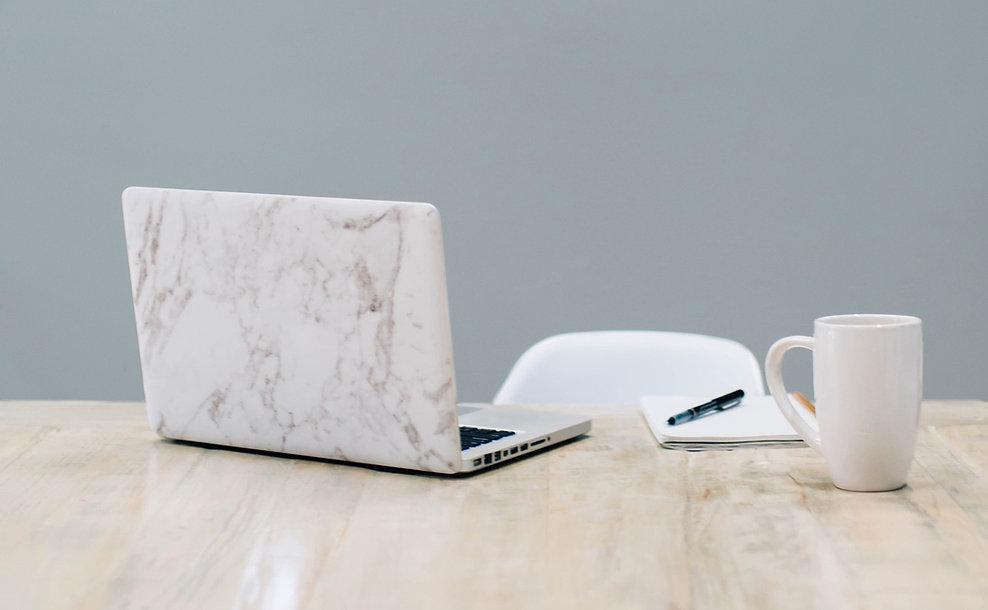 Clean Space desktop with laptop