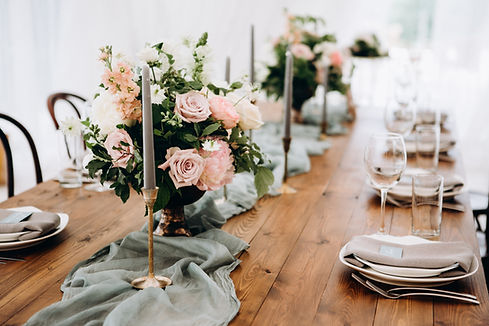 Rustic Wedding Table Arrangement with flowers