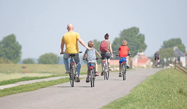 Gezin op fietstocht