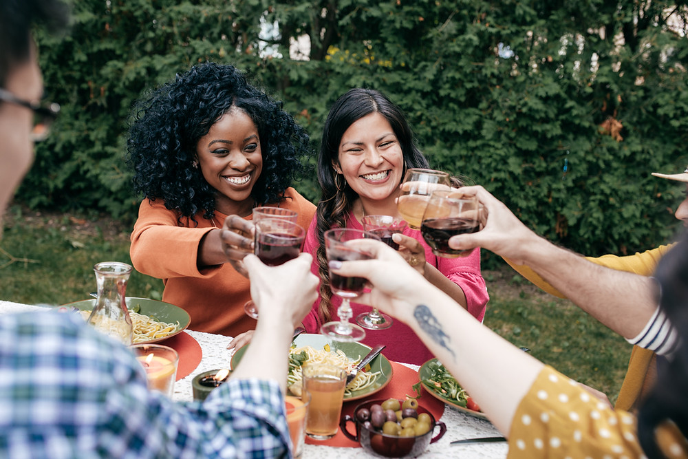 outdoor event garden wine happy hour drinks
