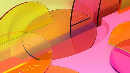 Fuchsia and Orange Geometric Objects