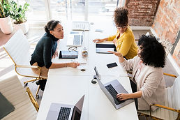 Women Colleagues working together with computers.