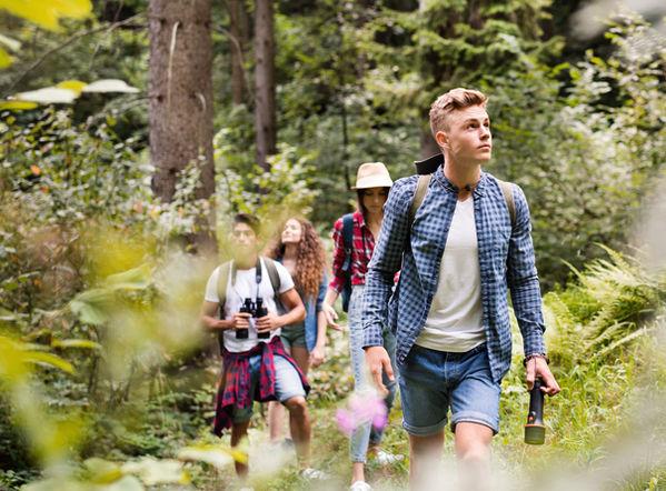 Ados en randonnée en forêt