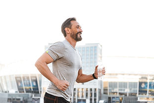 Man Jogging is pain free from getting acupuncture