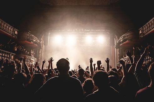 De pie en un concierto