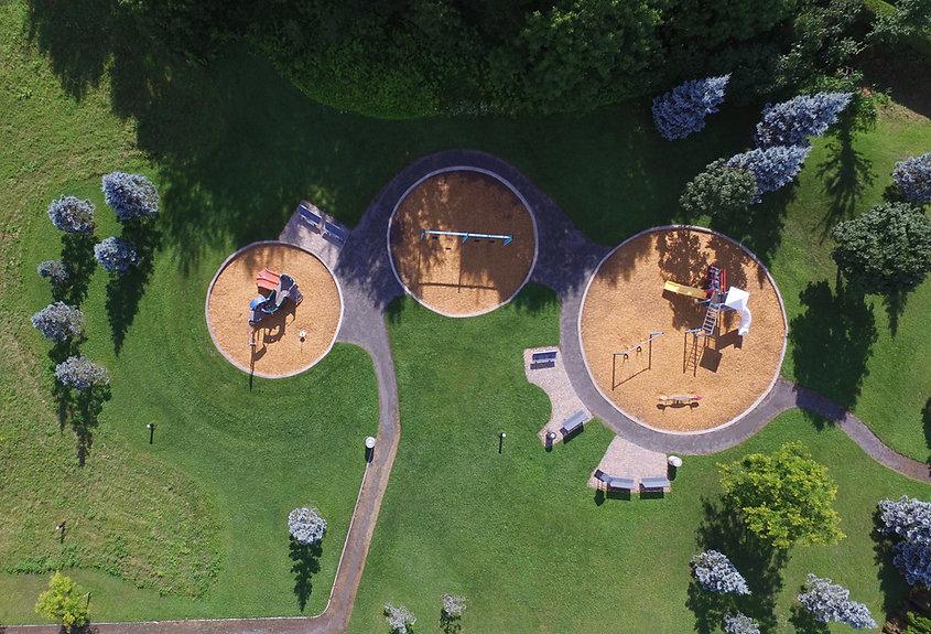 Vista aérea del patio