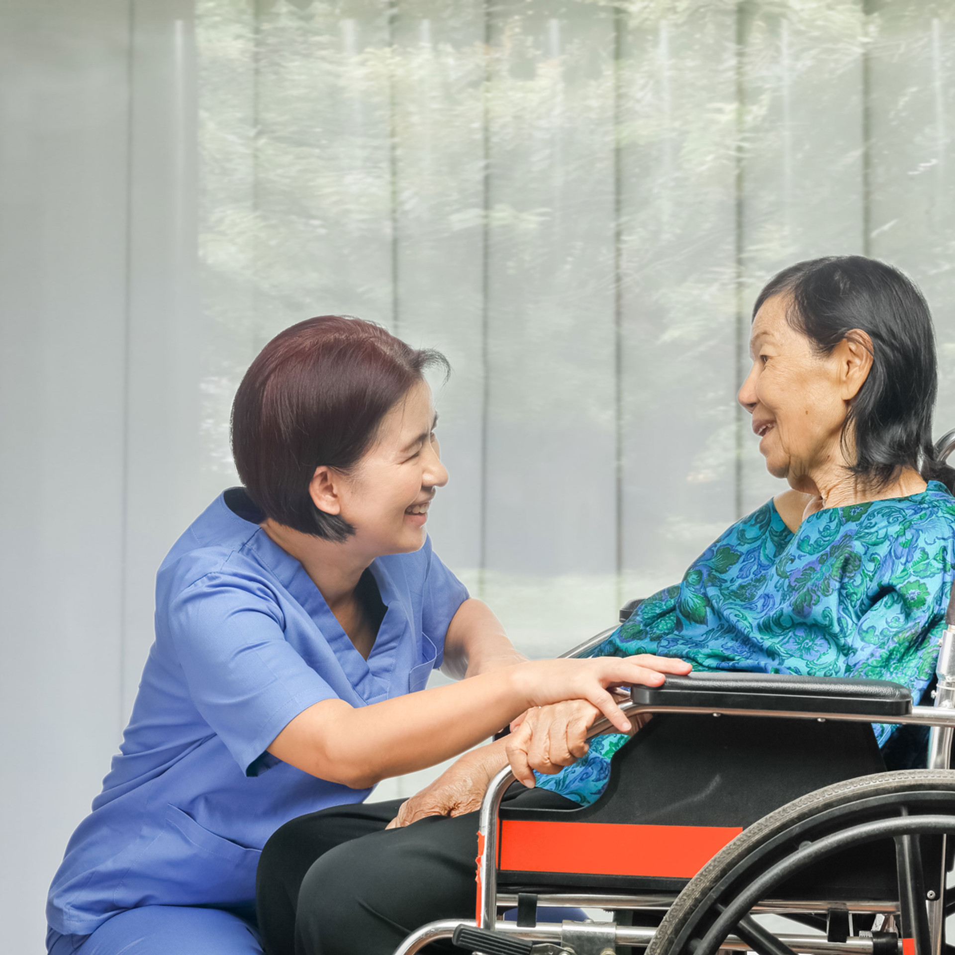 Nurse and Patient on Wheelchair