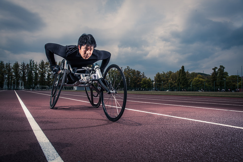 Young athlete who uses a wheelchair