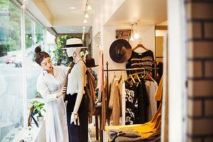 Exposição da loja de moda